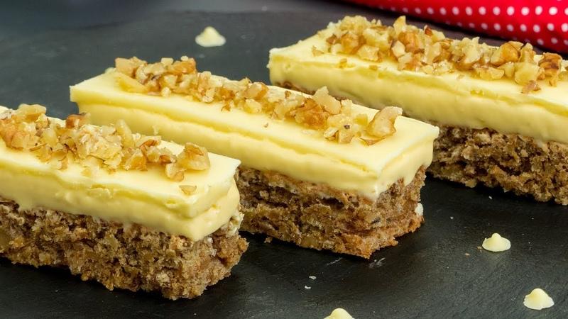 Самое вкусное и самое простое в приготовлении - ореховое пирожное с белым шоколадом.   Appetitno.TV