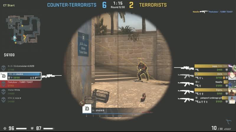 CS:GO, dvoikik, 1 vs 5 on Mirage
