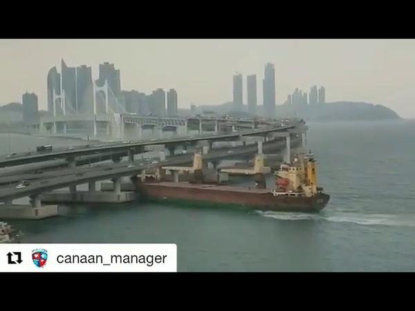Российское грузовое судно SEAGRAND врезалось в мост в южнокорейском порту Пусан.