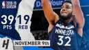 Karl-Anthony Towns Full Highlights Wolves vs Kings 2018.11.09 - 39 Pts, 19 Reb