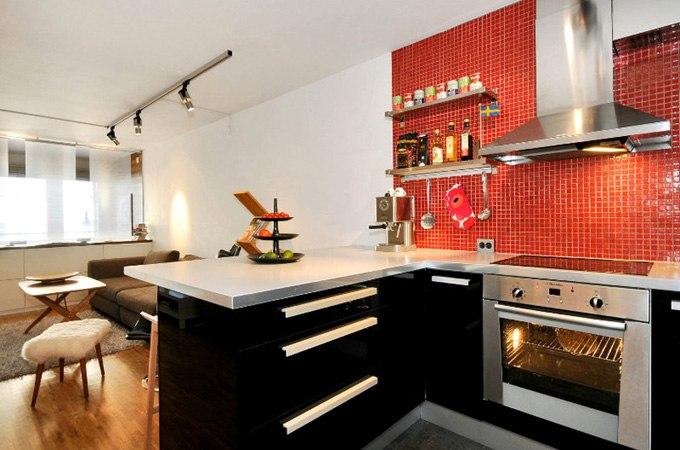Дизайн квартиры-студии 43 м художника в Стокгольме / Швеция - http://kvartirastudio.
