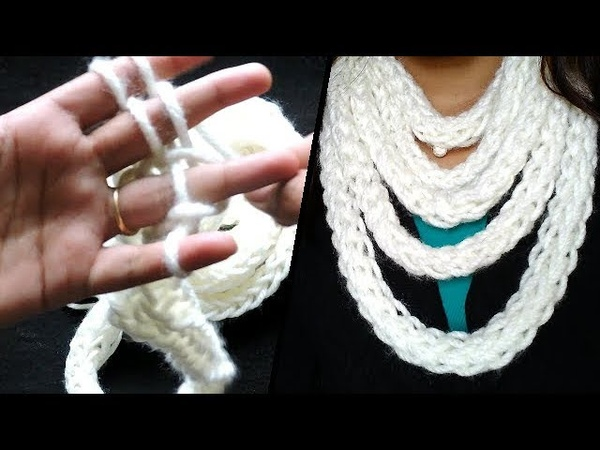 Finger knitted Scarf in 30 minutes || Learn How to Finger Knit || Infinity Scarf ||