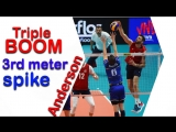 Triple BOOM 3rd meter spike from Matthew Anderson in the match against France