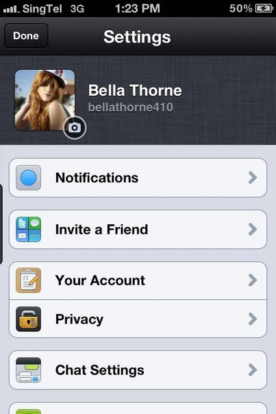 Bella Thorne kik name