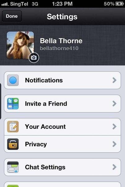 Bella Thorne kik