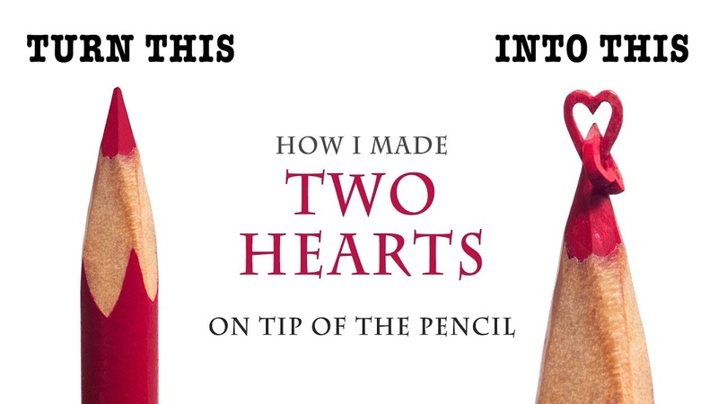 I carve Two Hearts from a red color pencil 2mm