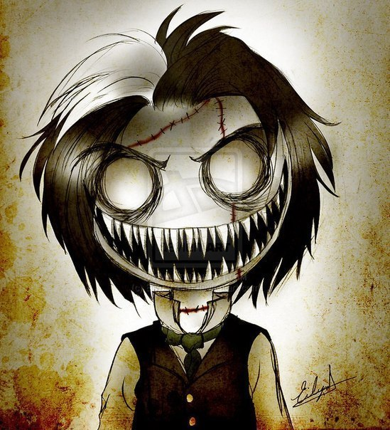 creepy black and white mask