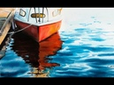 Red Boat by a Dock in Watercolors Painting Tutorial