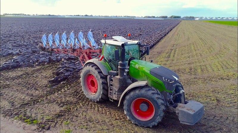 Ploughing Wheat Drilling Fendt 1050 John Deere 8345RT Immink Amstelveen Heavy soil