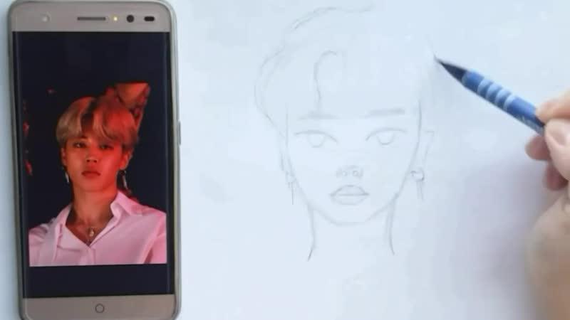 ✏Как нарисовать Чимина из BTS🐶 _ 그리는 방법 박지민 _ How to draw Jimina from BTS