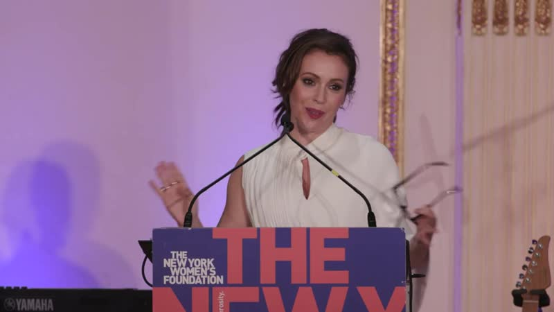 Alyssa Milano accepts her award at The New York Womens Foundations Radical Gen