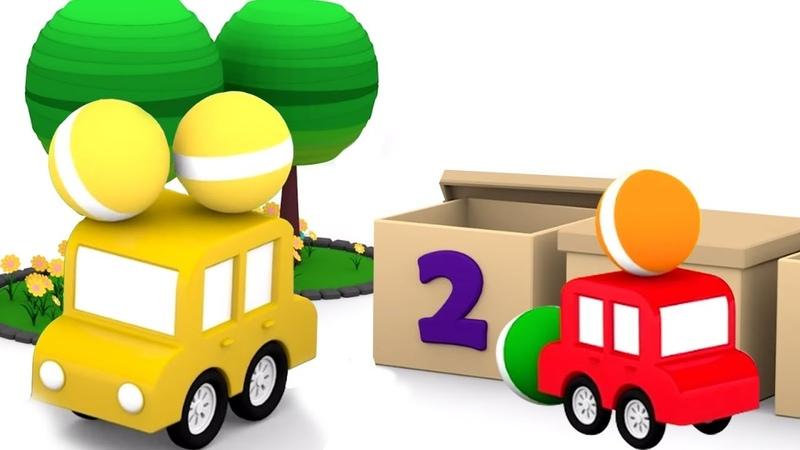 Ensinando os números para crianças 4 carros coloridos