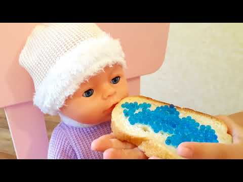 Elina pretend play with doll and feeding doll Learn colors with Baby Born and orbeez