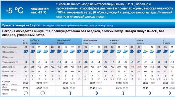 прогноз погоды на rp5