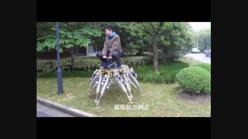 This Hexapod Robot uses hydraulic pistons to move the legs. Its weight is 150kg and payload is 150kg.