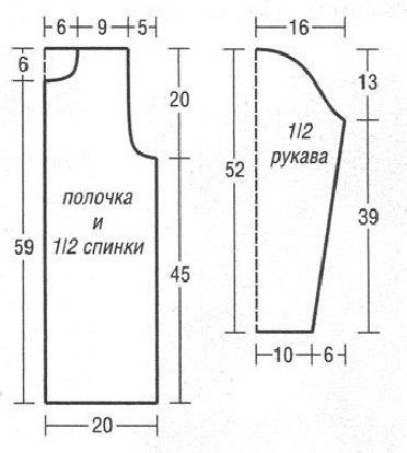 Вязание спицами рукав реглан женской кофты схемы