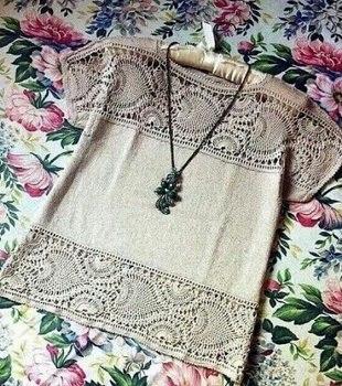 Блузка с ажурными вставками связана крючком…. (2 фото) - картинка