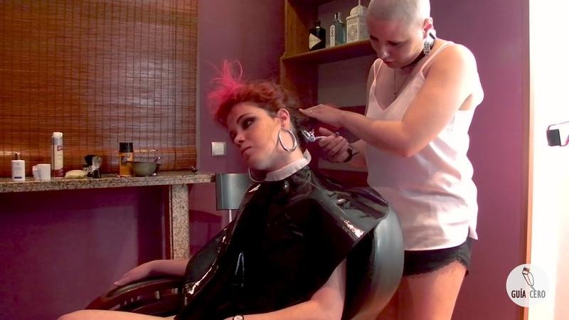 29 Paula: long dyed hair, buzzed nape, extreme bob, mohawk, bald