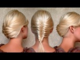 French fishtail braid and updo hairstyles for medium long hair