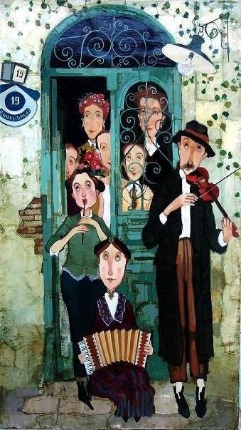 Симпатичные и яркие семьи на картинах Отара Имерешвили