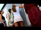 Girl with pink skirt upskirt on the wall
