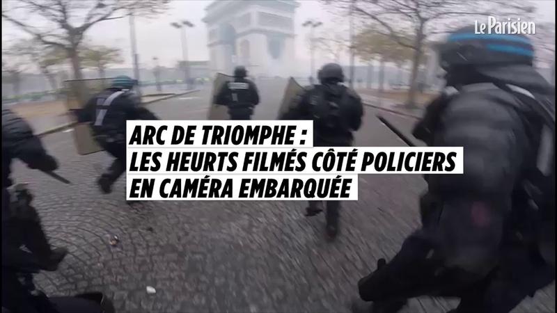 Arc de triomphe : les heurts filmés côté policiers en caméra embarquée