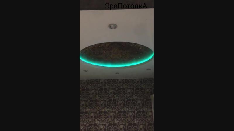 Двухуровневый потолок с фотопечатью и подсветкой