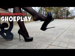Hot russian girl shoeplay in GIANMARCO LORENZI Size 39 High Heel Fetish Pumps