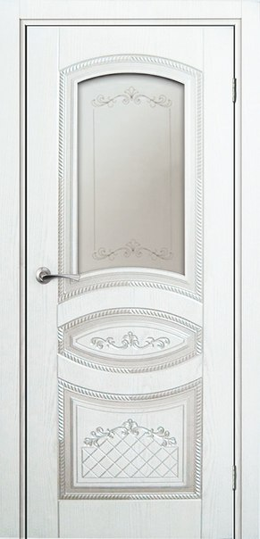 Межкомнатная дверь Натуральный шпон Милан (Белая эмаль)