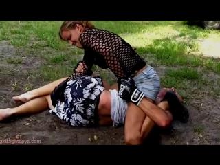 Girl Vs Guy Boxing _ Ends with a Reverse Headscissor KO
