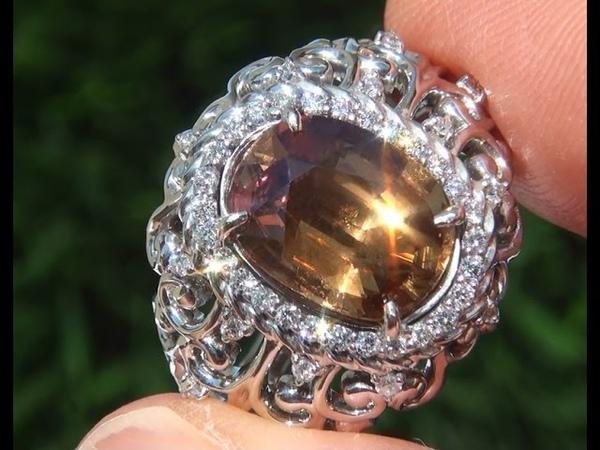 GIA UNHEATED VVS Yellow Sapphire Diamond 14k White Gold Estate Ring - A131627