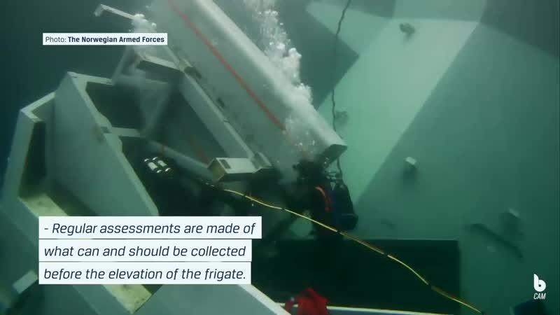 The Norwegian Navy piloting the Blueye Pioneer underwater drone Frigate Helge Ingstad