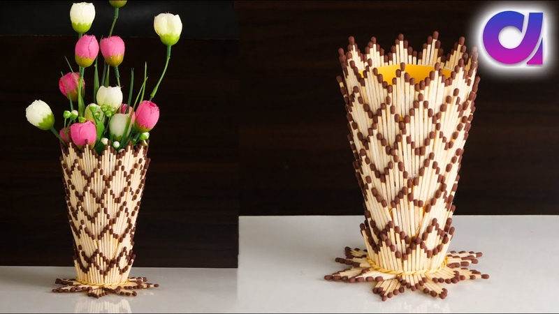 How to make flower vase with matchsticks Flower vase diy Artkala