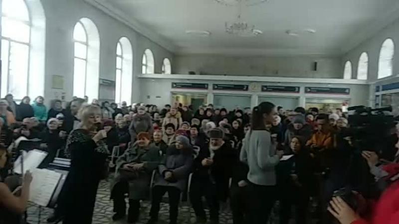 Красноярский духовой оркестр на станции Злобино