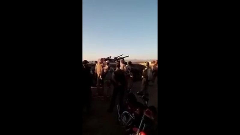 Militants of Bosra al Sham in Daraa eastern CS handing over their weapons after accepting