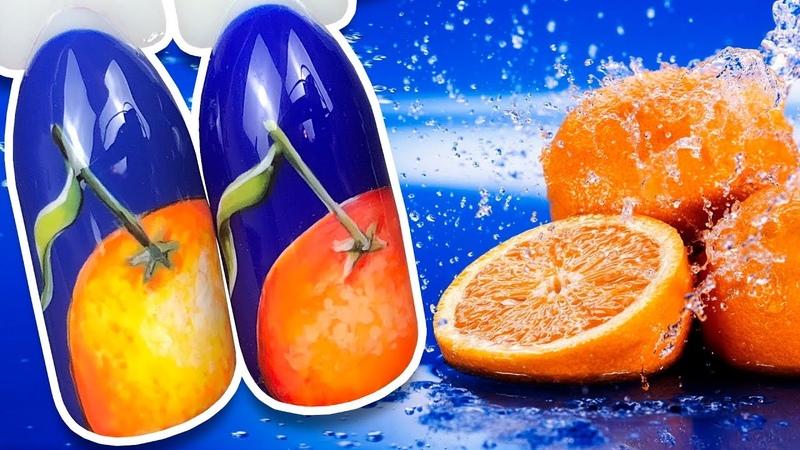 🍊 Яркий Апельсин на Синем Фоне 🍊 Осенний Дизайн Ногтей Гель лаком к Маникюру Пошаговый Мастер Класс