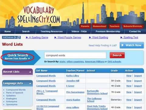 VocabularySpellingCity - Find A List on VocabularySpellingCity