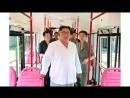경애하는 최고령도자 김정은동지께서 새형의 무궤도전차와 궤도전차를 보시였다