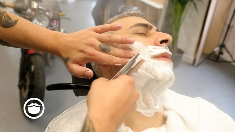 Modern British Barber: Hot Shave with Straight Razor and Steamer
