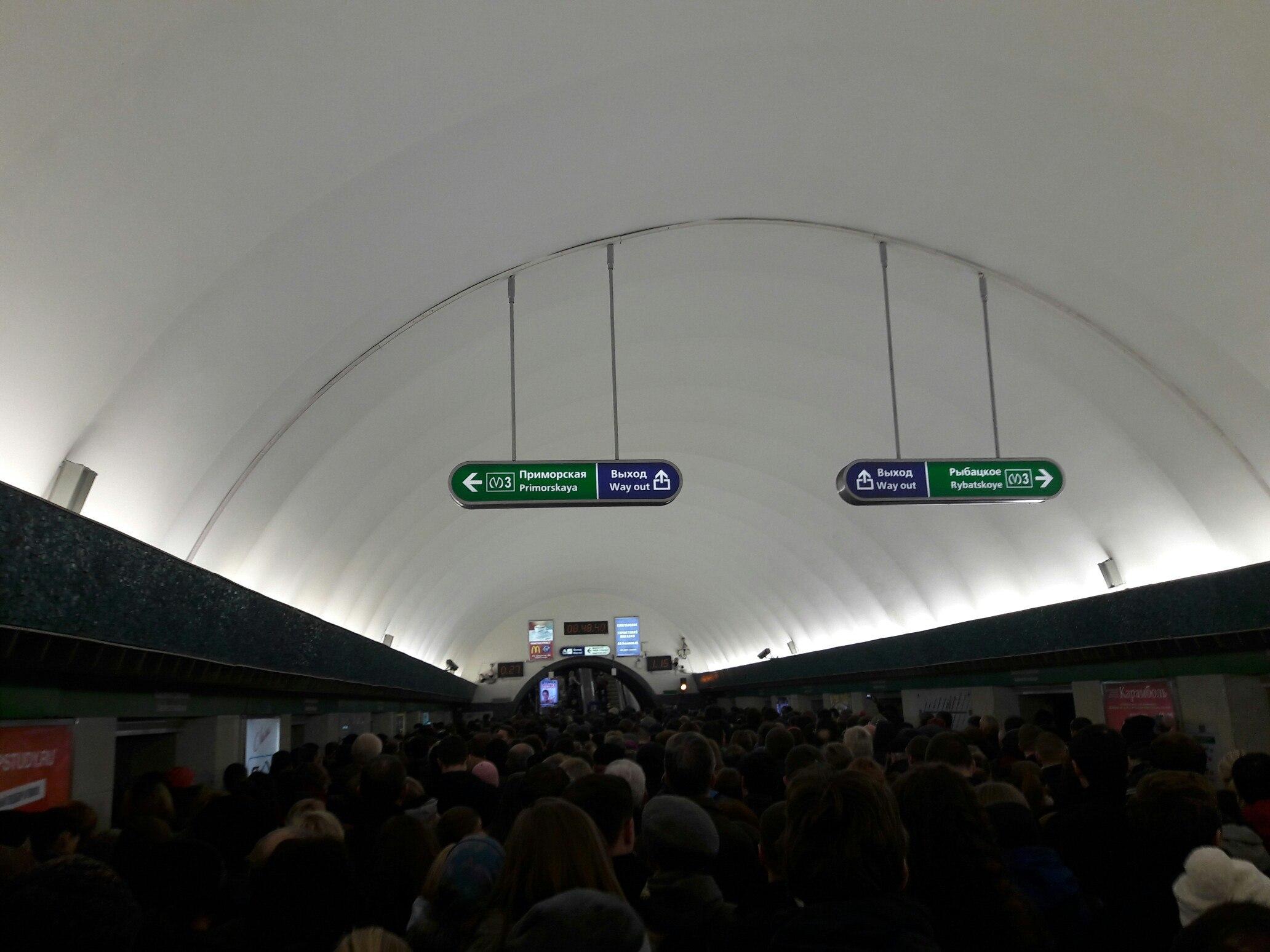 Давка на«Василеостровской»: пассажиры немогут даже выйти извагонов