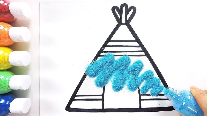 Tepee coloring drawing studying English for kids ㅣ 티피텐트 그리기 색칠하기 영어 공부