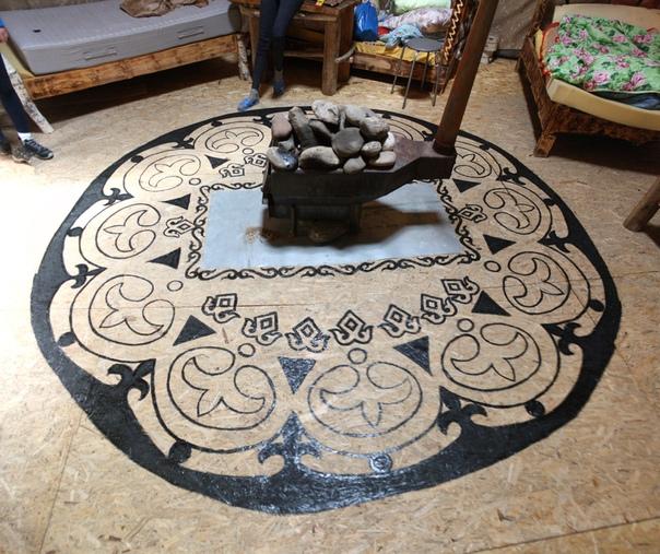 В центре аила железная печь по всем правилам печкостроения.