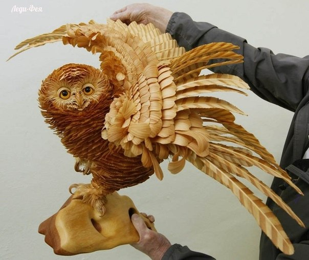 Удивительные скульптуры из стружки Сергея Бобкова