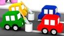 4 coches coloreados La reparación del camino Dibujos para niños
