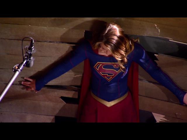 Flash Supergirl crossover BTS