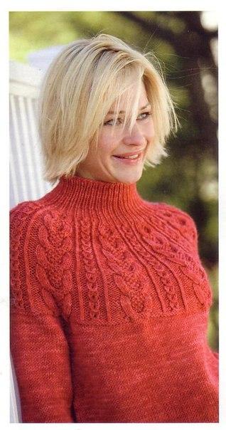 Красивый пуловер спицами (9 фото) - картинка