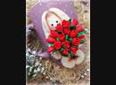 Кружечка с декором из полимерной глины 👑 Зайка с букетом из тюльпан🌷