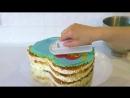 Торт Сердце из крема Торт с вафельной картинкой Сборка и украшение торта _ Olya