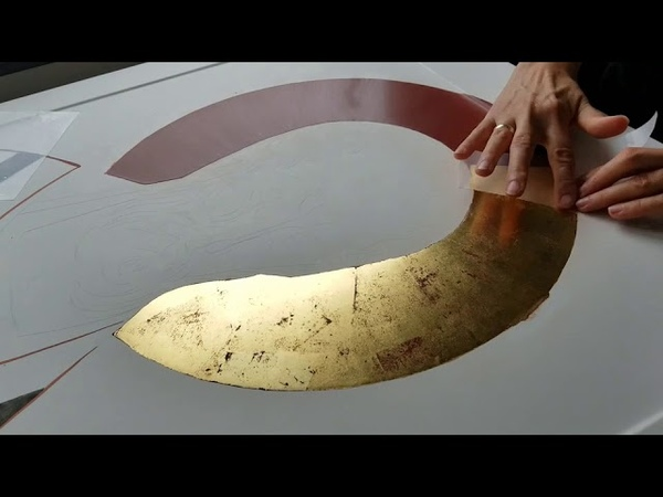 Water GILDING with genuine gold leaf for Byzantine Icons process video tutorial