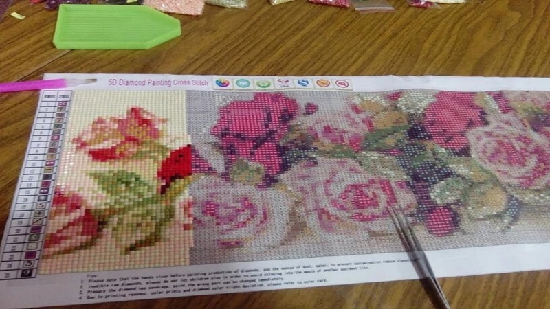 Алмазная вышивка длинных размеров Павлины с цветами Розы полная выкладка